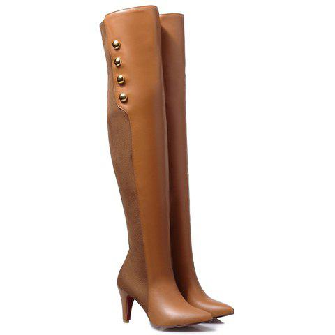 Trendy Suede and Metallic Design Thigh Boots For Women - LIGHT BROWN 37