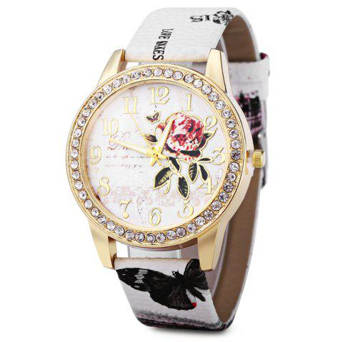 Women Rhinestone Quartz Watch Leather Band Peony Pattern - WHITE