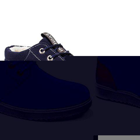 Trendy Lacing and Suede Design Casual Shoes For Men - BLUE 41