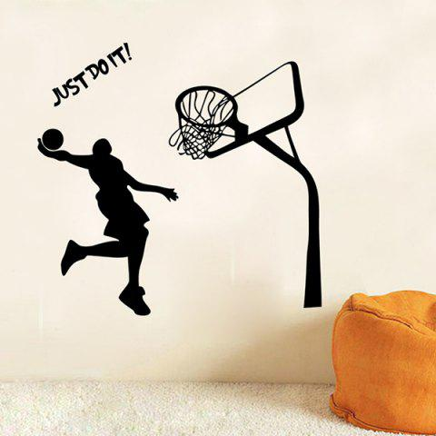 Beautiful Just Do It Boy Playing Basketball Pattern Wall Decal - BLACK