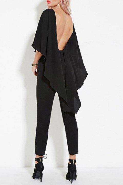 d842dc451da Vogue Black Scoop Neck Open Back Dolman Sleeve Jumpsuit For Women - BLACK S