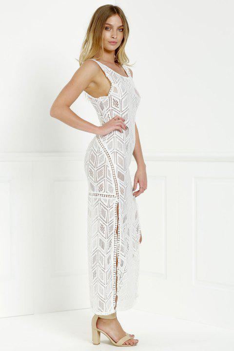 Cut Out Fitted Lace Slit Maxi Dress - WHITE S
