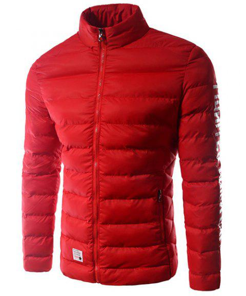Men's Casual Stand Collar Zipper Solid Color Thicken Cotton-Padded Coat - JACINTH L