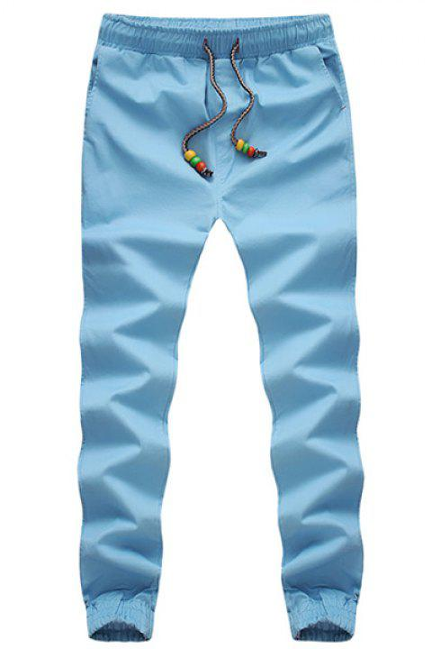Beading Design Lace-Up Solid Color Beam Feet Slimming Men's Pants - WATER BLUE XL