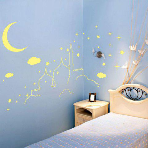 Romantic Removable Castle Pattern DIY Wall Sticker For Children's Room - YELLOW