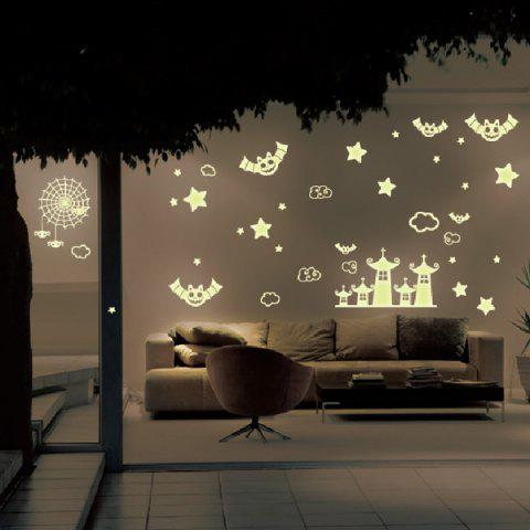 Cute Removable Castle and Batman Pattern DIY Wall Sticker For Children's Room - YELLOW