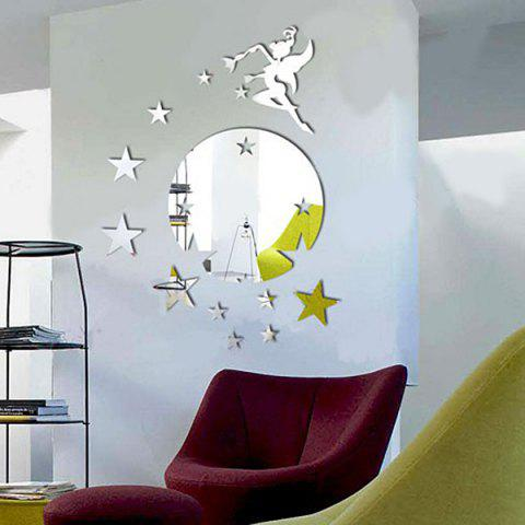 High Quality Multi-Piece Removeable 3D Mirror Wall Sticker - SILVER
