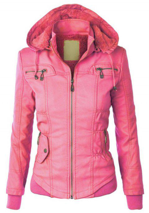 Chic Solid Color Hooded Detachable Sleeve Faux Leather Jacket For Women - PINK M