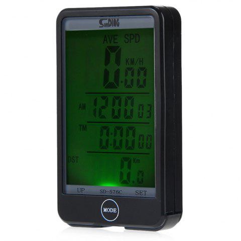 Sunding SD - 576C Waterproof Large Screen Mode Touch Wireless Bicycle Computer Odometer with LCD Backlight - BLACK