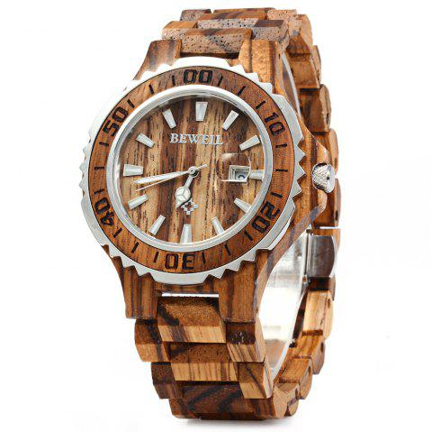 BEWELL ZS-100BG Wooden Men Quartz Watch with Luminous Hands 30M Water Resistance - ZEBRAWOOD