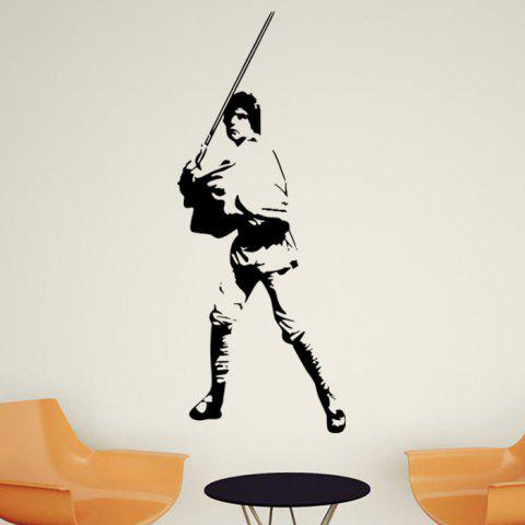 w-28 Luke Skywalker Style Removable Wall Sticker Water Resistant Home Art Decals - BLACK