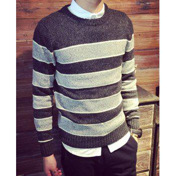 Casual Pullover Cross Stripe Color Matching Twist Fower Sweater For Men