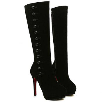 Sexy Buttons and Suede Design High Heel Boots For Women