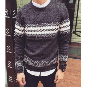 Casual National Style Color Block Pullover Round Collar Long Sleeve Sweater For Men