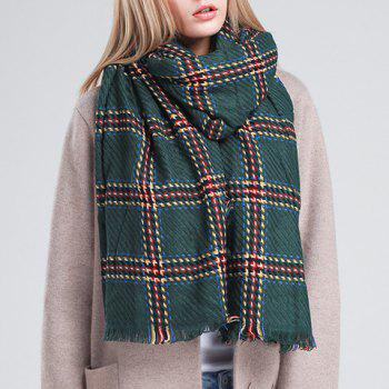 Chic Fringed Edge Plaid Pattern Women's Biservice Winter Scarf