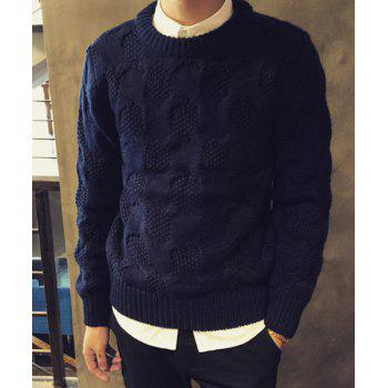 Casual Long Sleeve Pullover Round Collar Solid Collar Sweater For Men