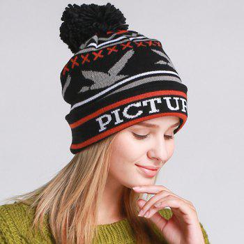 Chic Flying Bird and Letters Pattern Women's Knitted Beanie - BLACK