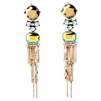 Pair of Charming Rhinestone Faux Crystal Bar Drop Earrings For Women