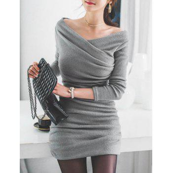 Stylish Women's V-Neck Long Sleeve Ruched Sweater Dress