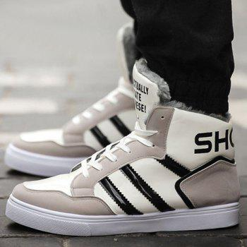 Stylish Stripes and Patent Leather Design Casual Shoes For Men - GRAY GRAY
