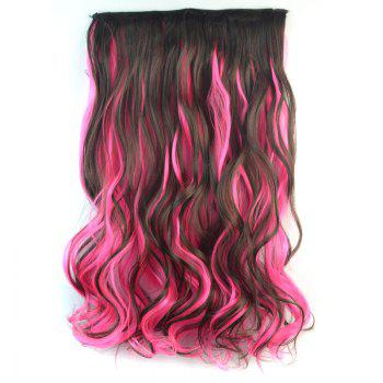 Trendy Long Synthetic Shaggy Curly Clip In Deep Brown Mixed Pink Hair Extension For Women