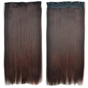 Attractive Brown Gradient Synthetic Fashion Long Glossy Straight Women's Clip-In Hair Extension - OMBRE 1211# OMBRE