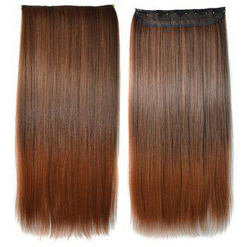 Elegant Light Brown Ombre Silky Straight Trendy Long Clip-In Synthetic Women's Hair Extension - COLORMIX COLORMIX