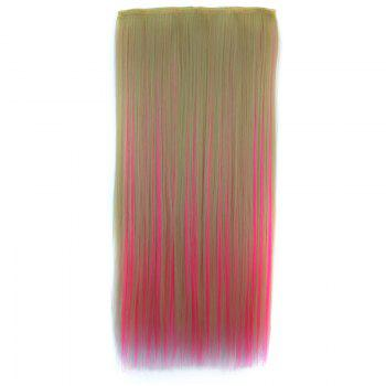 Attractive Clip In Pink Highlight Trendy Long Glossy Straight Synthetic Women's Hair Extension