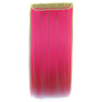 Attractive Clip In Pink Highlight Trendy Long Glossy Straight Synthetic Women's Hair Extension -  OMBRE