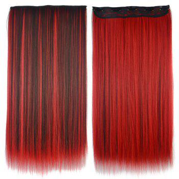 Fashion Silky Straight Red Highlight Attractive Long Clip-In Synthetic Women's Hair Extension - COLORMIX COLORMIX