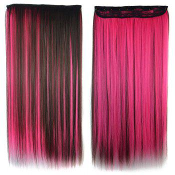 Trendy Clip-In Synthetic Elegant Long Rose Highlight Glossy Straight Women's Hair Extension