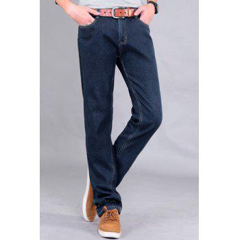 Casual Straight Leg Patch Pocket Bleach Wash Slimming Zipper Fly Men's Flocky Jeans