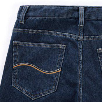Casual Straight Leg Patch Pocket Bleach Wash Slimming Zipper Fly Men's Flocky Jeans - BLUE 33