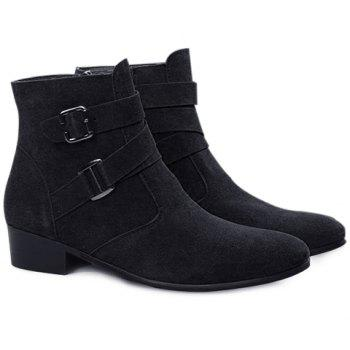 Casual Buckle Strap and Zipper Design Short Boots For Men