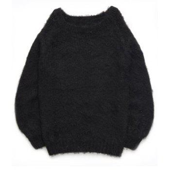 Brief Women's Slash Neck Long Sleeve Mohair Sweater