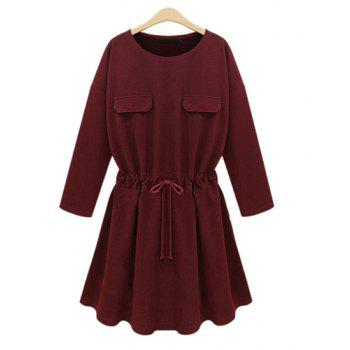 Chic Round Neck Long Sleeve Waist Drawstring Pure Color Women's Dress