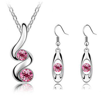 A Suit of Charming Faux Crystal Necklace and Earrings For Women
