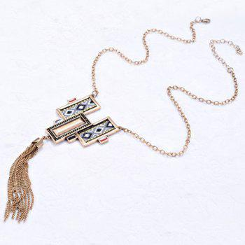 Fake Crystal Cloth Printed Chain Tassel Necklace