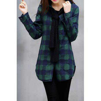 Preppy Style Plaid Polo Collar Detachable Tie Long Sleeve Blouse For Women