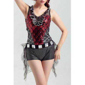 V-Neck Sequined Splicing Christmas Dancewear Romper For Women - RED M