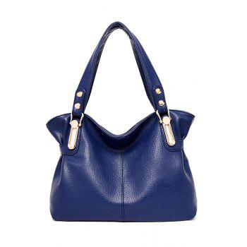 Concise Solid Colour and Metal Design Women's Shoulder Bag