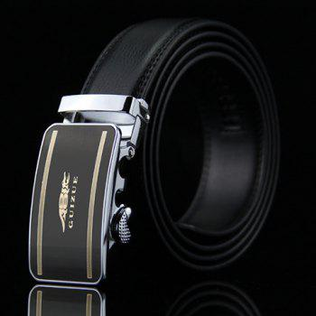 Stylish Crocodile and Stripe Design Auto Buckle Belt For Men