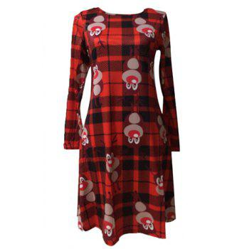 Stylish Long Sleeve Round Neck Printed Plaid Women's Christmas Dress