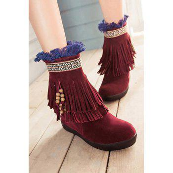 Ethnic Style Fringe and Suede Design Women's Snow Boots - WINE RED 39
