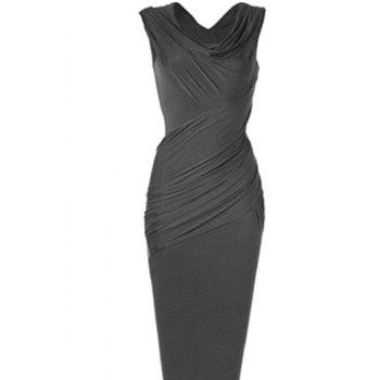 Sleeveless Cowl Neck Slimming Draped Women's Dress