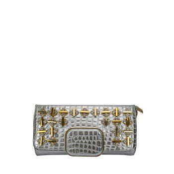 Gorgeous Metal and Rhinestone Design Women's Evening Bag