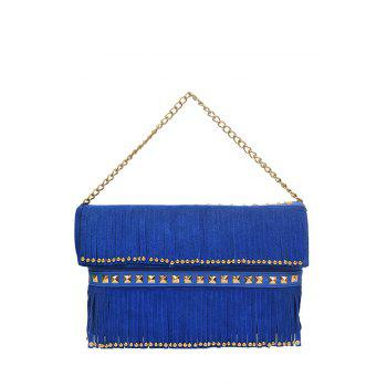 Trendy Rivet and Fringe Design Women's Shoulder Bag