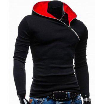 Trendy Long Sleeves Hooded Personality Inclined Zipper Design Slimming Solid Color Men's Cotton Blend Hoodies - BLACK M