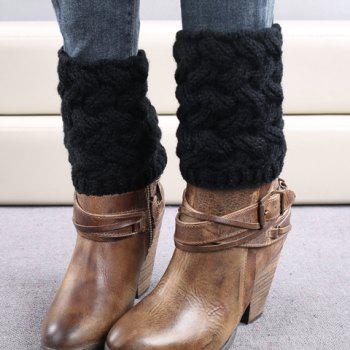 Pair of Chic Solid Color Weaving Women's Knitted Boot Cuffs - BLACK BLACK