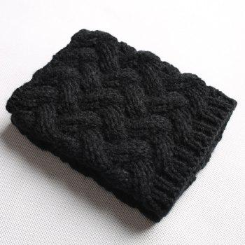 Pair of Chic Solid Color Weaving Women's Knitted Boot Cuffs -  BLACK